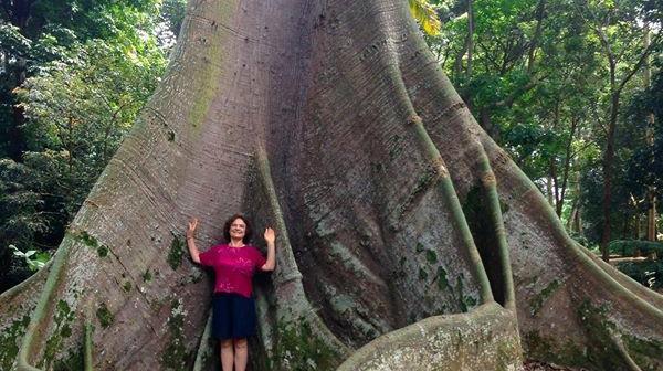 Elisa Novick in the Singapore Botanic Gardens with a Kapok tree.