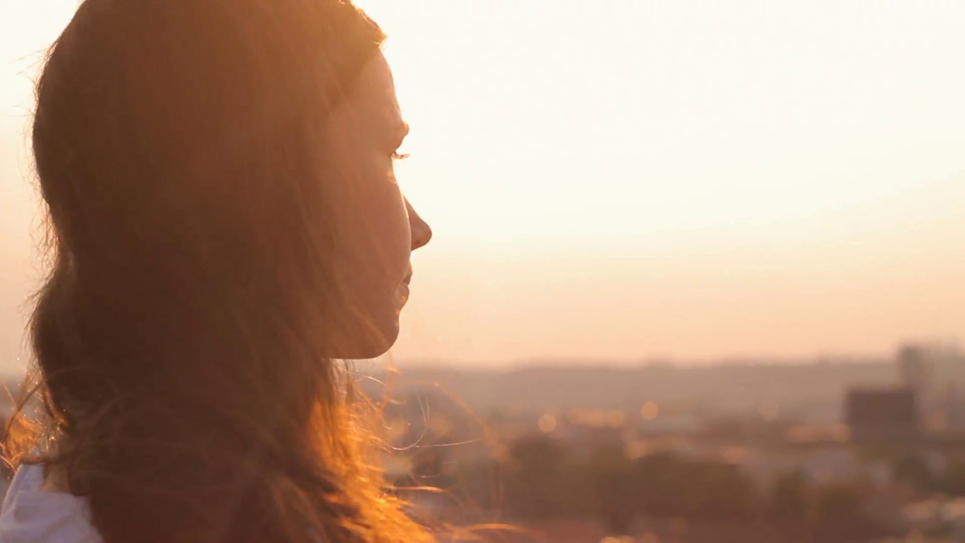 Girl Looking Forward To The Horizon Golden Hour Future
